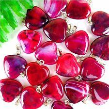 100Pcs Red & Black Dragon Veins Agate Love Heart Pendant Bead 23*20*7mm HH414