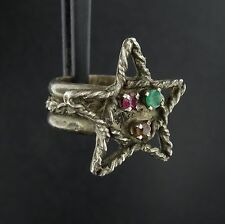 Solid Sterling Silver Star & Gemstone Ring Size 5 Ruby Citrine Chrysoprase RS660