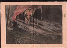 Sainte Maure Incendie locomotive train rapide Paris Bordeaux  1910 ILLUSTRATION