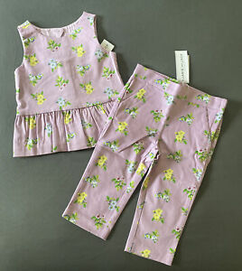 Toddler Girl 18-24 Month Janie and Jack Purple Floral Tank Top & Matching Pants