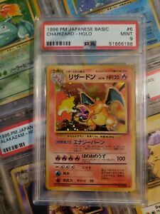 PSA 9 1996 Base Set Charizard 006 Pokemon Card Japanese Basic New Label