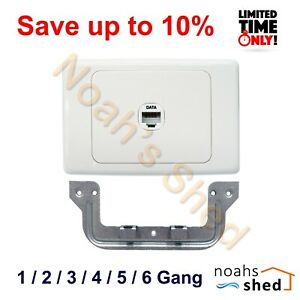 1 2 3 4 5 6 Gang Port Cat6 Wall Plate Network RJ45 Data Jack Clipsal 2000 Style