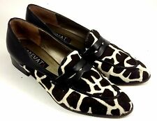 PREVATA Shoes ~ Women's Brown & White Animal Print Black Accent Penny Loafers 8M