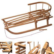 RAWSTYLE Kinderschlitten Holzschlitten Rodel Schlitten 90cm Zugseil Rückenlehne