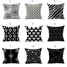 Black White Series Cotton Linen Pillow Case Decorative Cushion cover New