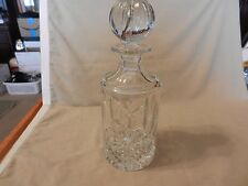Crystal Liquor Decanter with Cap, Starburst on Bottom, Engraved Cuts on Side (M)