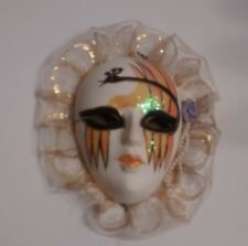 Oriental Decorative Wall Mask, White with Black and Gold Glitter / {Pre-Owned}.