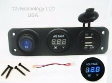 USB Charger + Blue Voltmeter + Power On/OFF LED Switch Wired Panel Marine Outlet