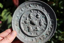 Chinese bronze mirror- Monsters & grapes, 134mm, Tang Dynasty 618-906 AD;