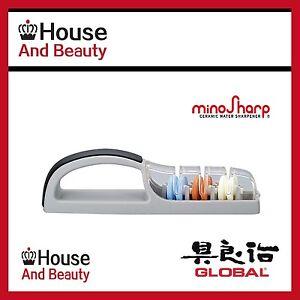 New GLOBAL 3 Stage MinoSharp Ceramic Water Sharpener Made in Japan Free Post