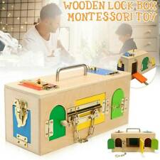 Wooden Montessori Educational Practical Material Little Lock Latch Box Kids Toys