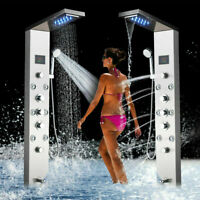 ELLO&ALLO LED Stainless Steel Shower Panel Tower System Rainfall Waterfall Showe