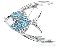 Genuine Aquamarine Diamante Rhinestone Tropical Angel Fish Jewelry Pin Brooch