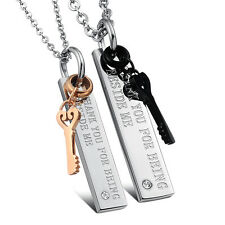 A Pair His Hers Stainless Steel Key Matching Set Pendant Necklace for Couples