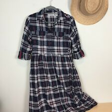 Anthony Richards Navy Plaid Flannel Shirt Dress Size M Long Sleeve