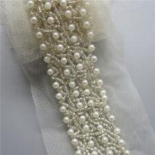 30cm Vintage Pearl Beads Mesh Lace Trim Ribbon Wedding Applique DIY Sewing Craft
