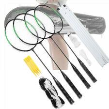 Recreational Badminton Set w/ 4 Rackets Net Case Outdoors for Backyard