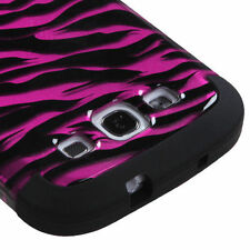 Samsung Galaxy S III 3 Rubber IMPACT TUFF HYBRID Case Cover 2D Hot Pink Zebra