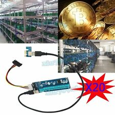 20X USB3.0 PCI-E Express 1x 16x Extender Riser Card Adapter Cable For Bitcoin