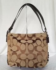 Coach 24CM Signature Khaki Brown Duffle Shoulder Bag Handbag F15067 Leather