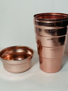 Vintage Pink Aluminum Cocktail Shaker 2 Cup Smoothie Drink With Lid Retro