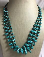 "Gorgeous gradual tri-strands turquoise nuggets/agate necklace/20.5""(g281i-w3)"