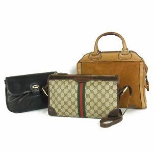 Auth GUCCI Vintage Logos PVC Leather Shoulder Hand Bag 3P Set Italy 17500bkac