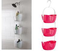 3 Niveles Color de rosa caliente Caddy Rack Plástico Colgante Canasta Unidad Baño Organizador
