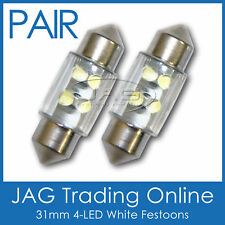 2x 31mm 4-LED WHITE FESTOON INTERIOR LIGHT GLOBES/BULBS-Car/Caravan/Boat/Trailer