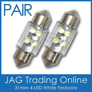 2x 31mm 4-LED WHITE FESTOON INTERIOR LIGHT GLOBES/BULBS-Car/Caravan/Boat/Trailer
