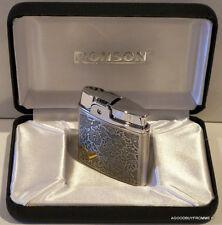 Ronson Plume Silver Arabesque Flint Lighter Soft Flame luxury Gift Boxed