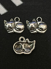 PJ224 /20pcs Tibetan Silver Charms Little cat Accessories Wholesale