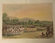 Ball Play Dance,by George Catlin, Original Lithograph,Limited Edition 1970