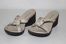 Hush Puppies Womens Sz 6 M Tan Khaki Leather Open Toe Heels Wedges Sandals Shoes