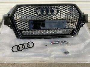 AUDI Q7 SQ7 2016-2019 RSQ7 Style Front Honeycomb Mesh Grille Black Grill Quattro