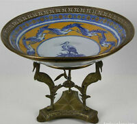 CENTRE DE TABLE. PORCELAINE ET BRONZE. FRANCE?. XVIII-XIX SIÈCLE