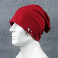 Men's Plain Metal Ring Cotton Slouchy Beanie Hat Casual Ski Oversized Cap Hats