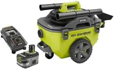 Ryobi Cordless Wet Dry Vacuum Kit Compact Green 18 Volt 6 Gal Battery Charger