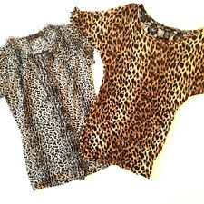 Lot Of 2 Womens Leopard Print Blouses Size Small The Limited Rue 21 Lace Ruffles