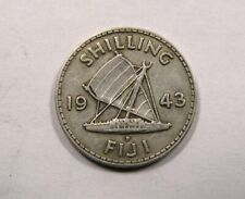 Fiji King George VI Silver Shilling 1943 Sailing Boat SCARCE