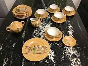 Teeservice Asiatisches Dekor, Porzellan mit Geisha Dekor, Gebraucht