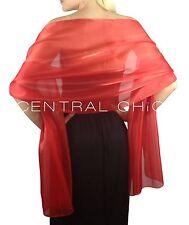 Rojo Escarlata Sedoso Dama de Honor Boda Boda Graduación Chal Estola Pashmina
