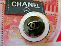 CHANEL 1 black white BUTTONS lot of 1 sz 23mm gold tone metal  cc logo, one