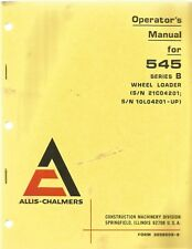 Allis-Chalmers 545 Series B Wheel Loader Operator's Manual