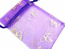 10xBirthday Party Function Garden Theme Butterfly Gift Favour Treat Organza Bags