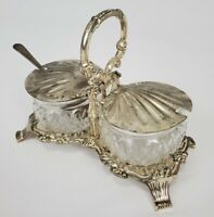 Vintage Hugo Silver Plated Shell Condiment Dish Hong Kong Mid-Century