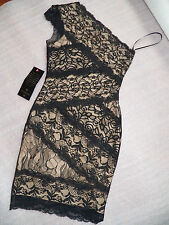 NWT bebe black lace dress one mixed shoulder stretchy bodycon top dress XL X L