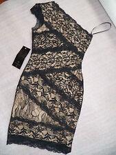 NWT bebe black lace dress one mixed shoulder stretchy bodycon top dress XL X L