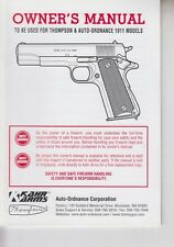Kahr Arms Thompson & Auto Ordnance 1911 Models Owner's Manual 2011