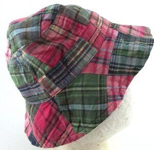 Baby Gap Pink Green Blue Plaid Bucket Hat Small Medium Summer Hat